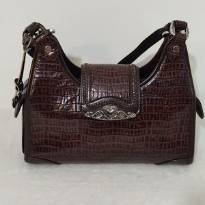 Faux Textured Brown Western Handbag
